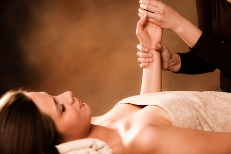 woman getting hand massage in spa salon Stock Photo - 13385601