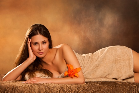 beautiful young woman in spa photo