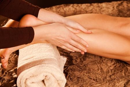 technique: leg massage technique in spa Stock Photo