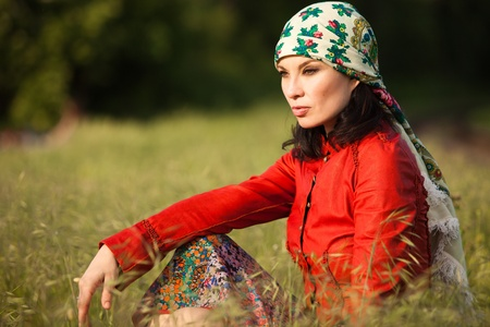 kerchief: mature woman in gypsy style clothes outdoor shot