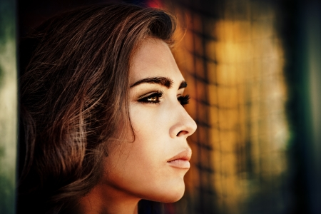 perfect face: beautiful brunette woman portrait outdoor shot summer day