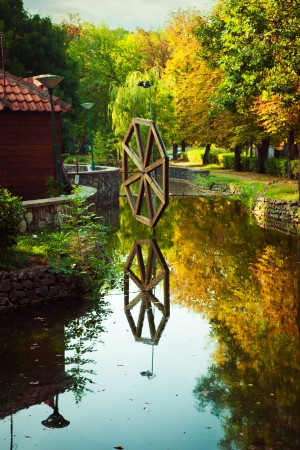 watermill: small pond with water-mill at Kosutnjak, Belgrade, Serbia