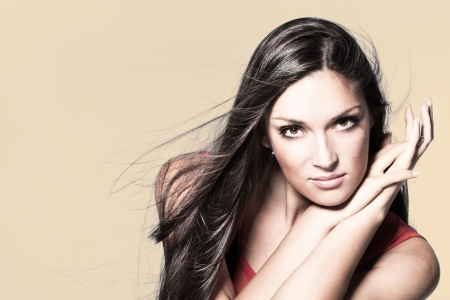 long hair beauty woman portrait studio shot horizontal Stock Photo - 15175427