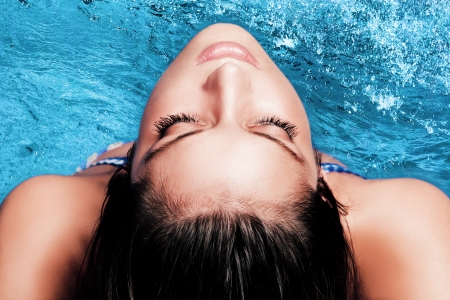 young beautiful woman portrai  above water Stock Photo - 15119117