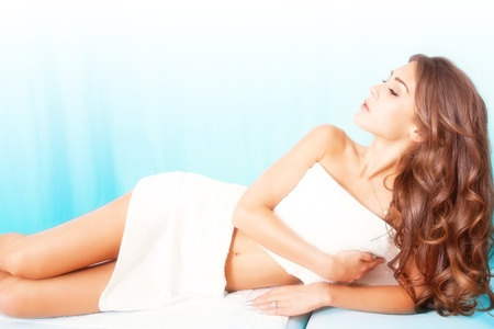 beautiful young woman in spa Stock Photo