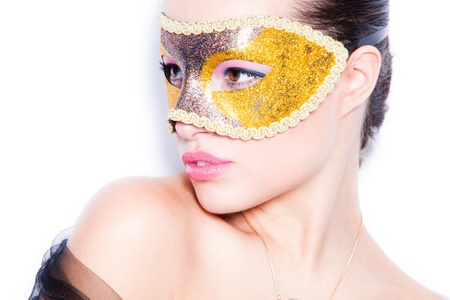 elegant woman with mask portrait on white background photo