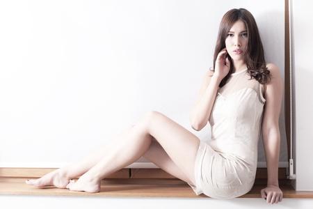 barefoot elegant young woman full body shot indoor shot Stock Photo - 17049495