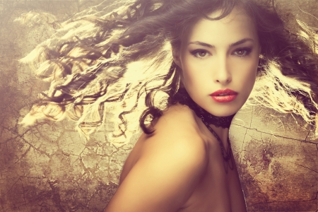 magical fantasy beauty young woman with hair in motion portrait photo