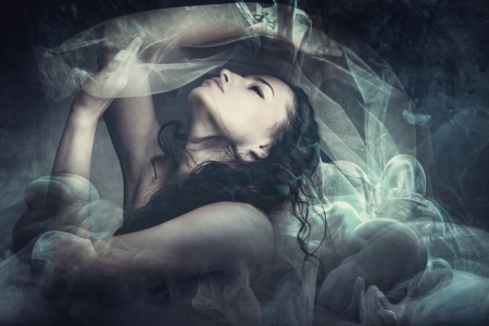 human being: fairy like fantasy woman with veil  Stock Photo