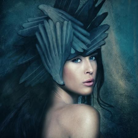 fantasy warrior goddess with helmet, small amount of grain added photo