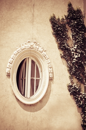 round wooden window; on old building with liana on wall Stock Photo - 21966148