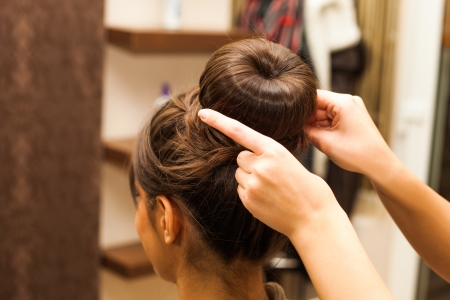 young woman hairdo at hairdressing salon Stock Photo