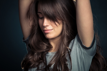 calm down: natural looking modern girl portrait Stock Photo