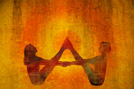 two minds: couple of women  silhouette fill with colorful pattern in yoga position, texture added