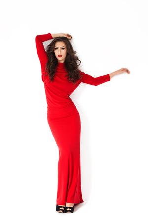 long shot: woman in elegant long red dress Stock Photo