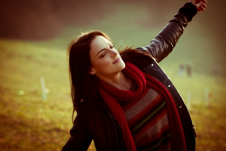 ordinary: young ordinary woman enjoy in nature  autumn day, retro colors Stock Photo