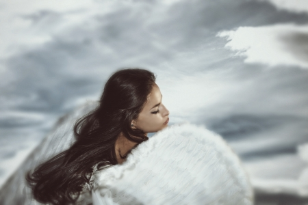 fantasy angel woman with sky in background