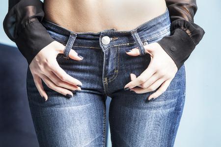 lichaam in jeans, studio-opname