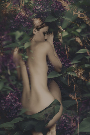 sleaping fairy in lilac, composite photo Stock Photo