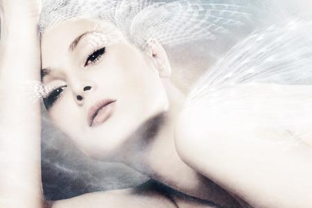 美しいファンタジー女性ポートレート合成写真 写真素材