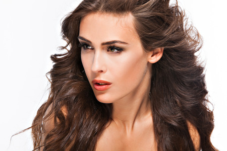 long brown hair: young woman with long brown hair, beauty portrait, studio shot Stock Photo