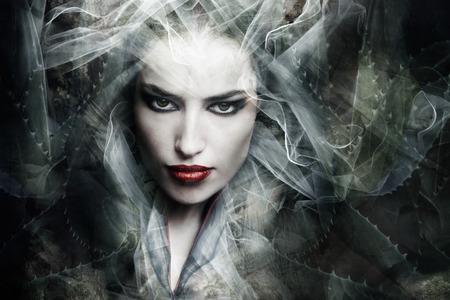 superstitions: dark fantasy sorceress woman, composite photo