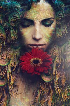fantasy makeup: Retrato de mujer hermosa con la flor de la fantasía, foto compuesta Foto de archivo
