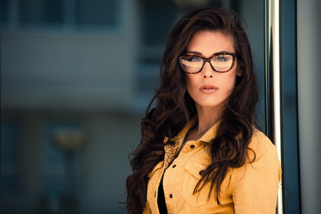diopter: young woman portrait with eyeglasses