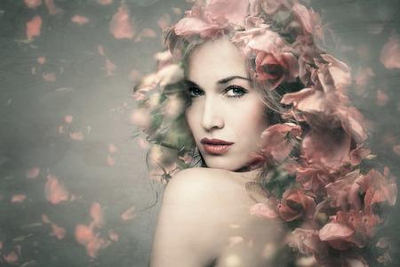 woman beauty portrait with flowers  composite photo Foto de archivo