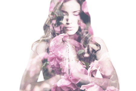 beautiful young woman with roses double exposure 免版税图像