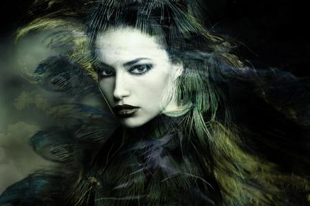 enchantress: beautiful sorceress woman double exposure portrait