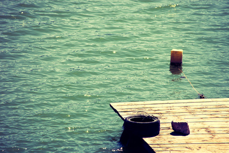 wooden dock: wooden dock on lake summer day