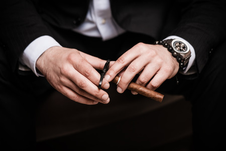 smoking a cigar: elegant man wearing black suit and white shirt cut Cuban cigar indoor shot, closeup Stock Photo