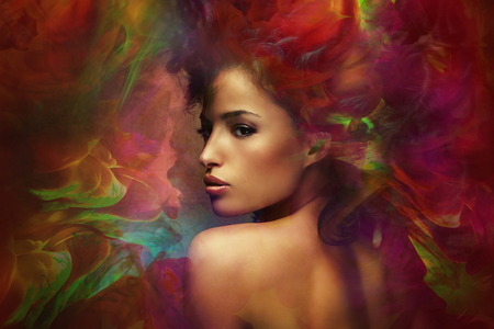wild hair: fantasy colorful beautiful young woman portrait, composite photo Stock Photo