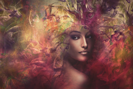 fantasy colorful beautiful young woman portrait, composite photo Фото со стока
