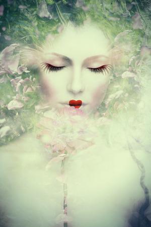 artistieke vrouw portret, samengestelde foto