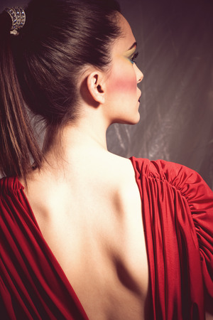 feminine beauty: elegant young woman in red dress portrait, back shot, profile, studio