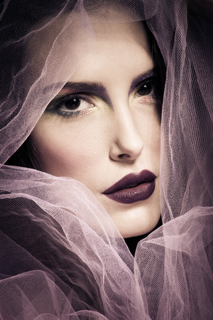 timeless: young woman beauty portrait with veil,  front view, closeup Stock Photo