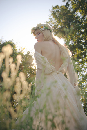 elegant girl: blonde young woman in elegant dress, bare back, profile, wreath of flowers in hair, summer day in field