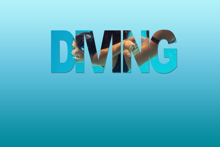 water sport: woman diving combined with letters on blue background