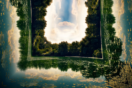 photo manipulation: small lake with green forest around and blue sky with clouds, summer time, bend photo manipulation