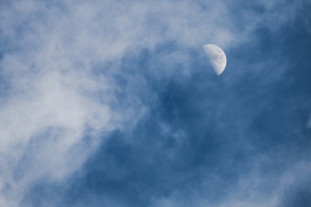 during: moon through the clouds during the day