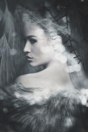 판타지 요정 아름다운 여자 초상 복합 사진 스톡 콘텐츠