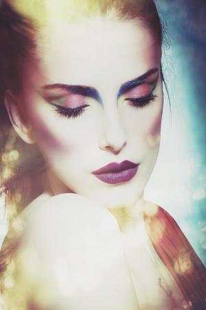 makeup eyes: fantasy beautiful woman portrait composite photo