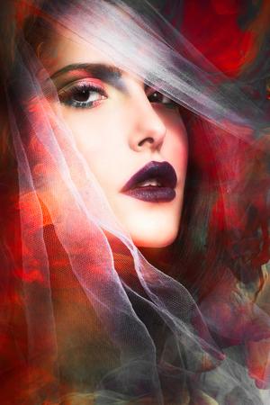fortuna: fantasy colorful woman portrait with veil composite photo