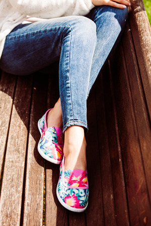 comfortable: young woman  in comfortable summer shoes