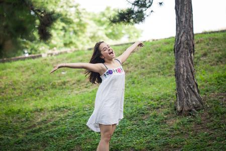 beautiful teen girl: teen girl enjoy in summer day in park