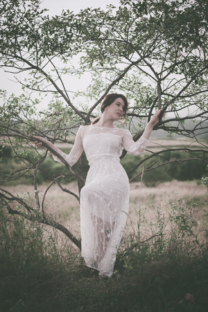 feminine beauty: young woman in long lacy dress lean on tree summer day