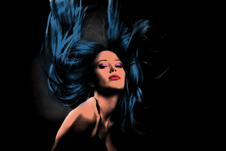 hair style: woman in dance motion hair fly  pop art style