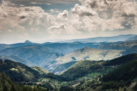 serbia landscape: Mountain landscape with clouds summer day Zlatibor Serbia Stock Photo